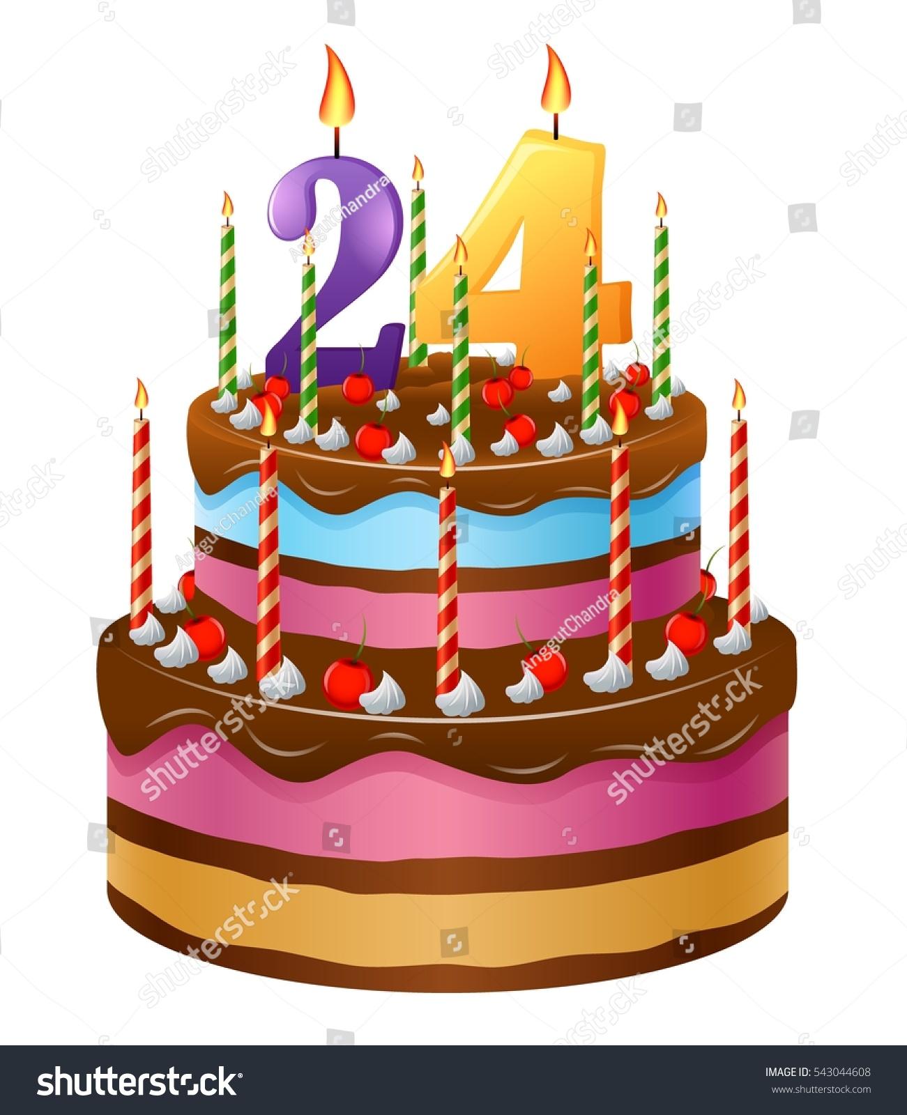 Happy Birthday Cake 24 Stock Illustration 543044608 Shutterstock