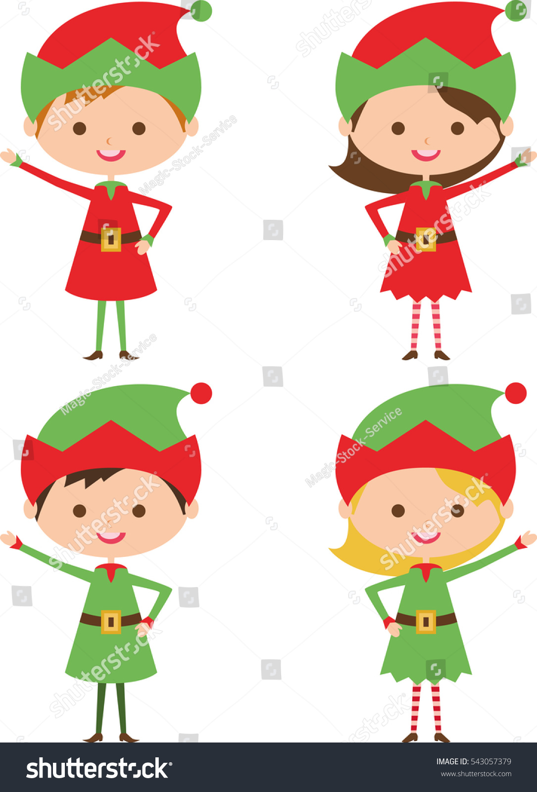 Vector Illustration Christmas Elves Gnomes Cartoon Stock Vector ...