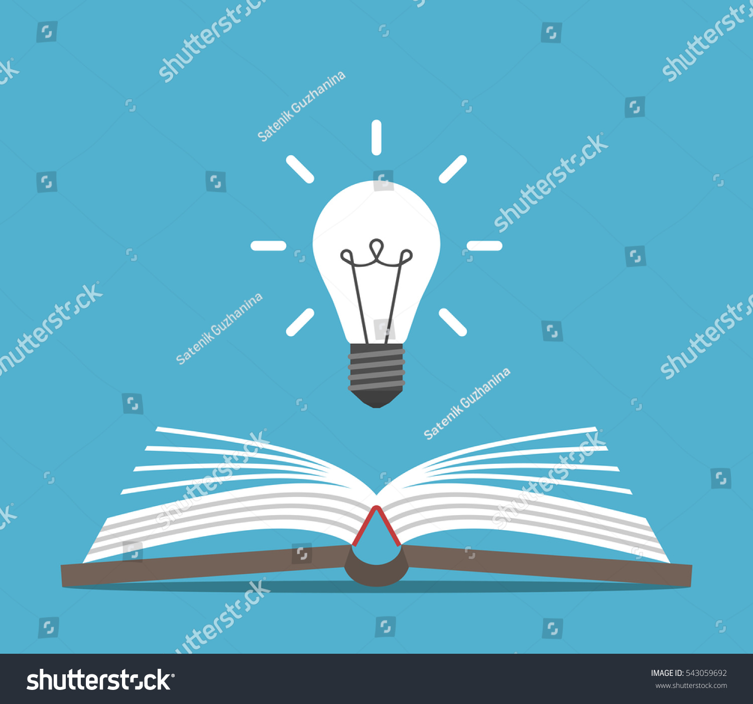 open book bright glowing light bulb stock vector