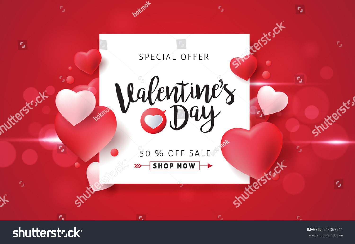 Valentines day sale background with balloons heart pattern. Vector illustration. Wallpaper, flyers, invitation, posters, brochure, banners. #543063541