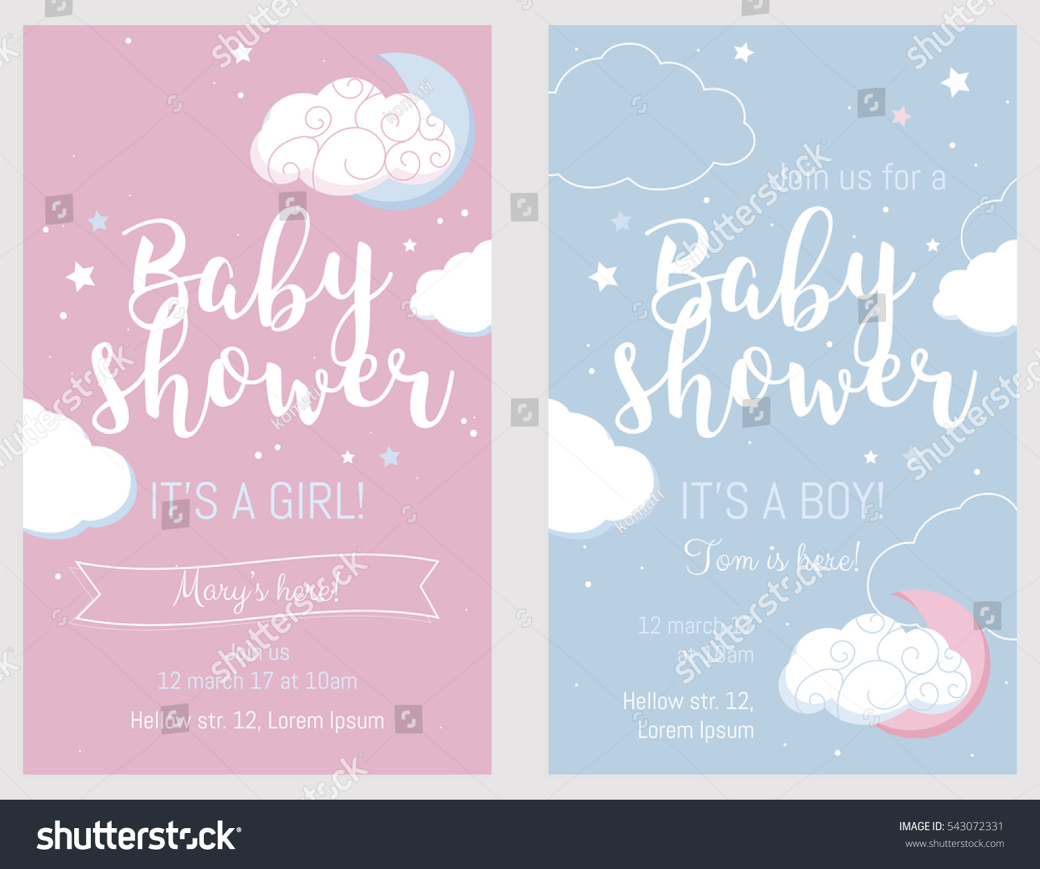 baby shower set cute invitation cards stock vector 543072331