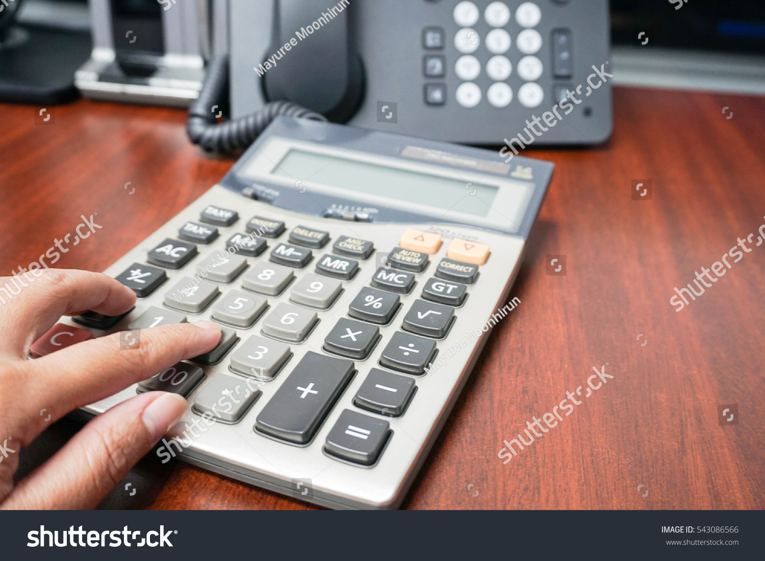Woman Use Calculator Office Tax Income Stock Photo