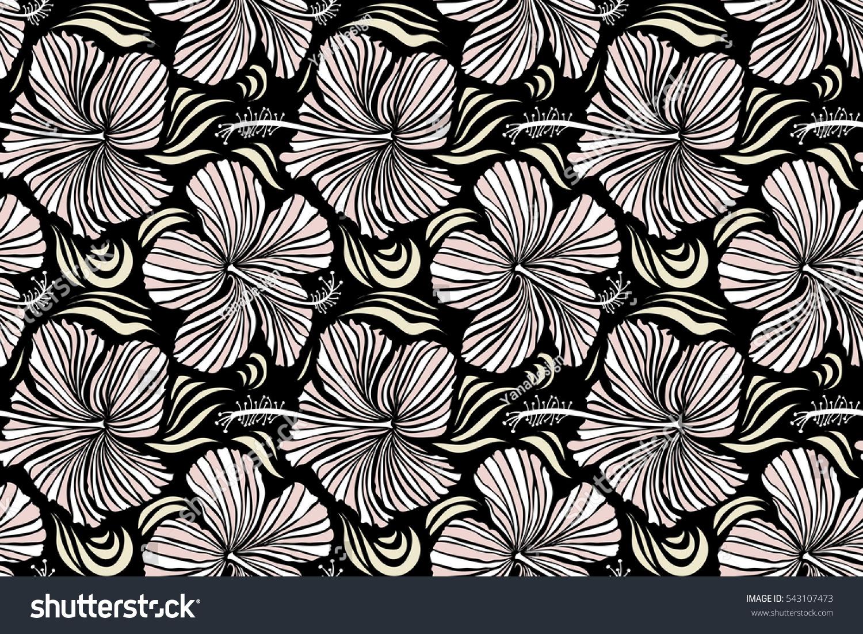 Various Hibiscus Hawaiian Tropical Flowers White Stock Illustration