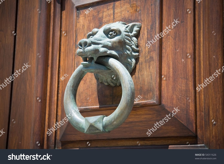 Wolf head doorknocker stock photo 54311626 shutterstock - Wolf head door knocker ...
