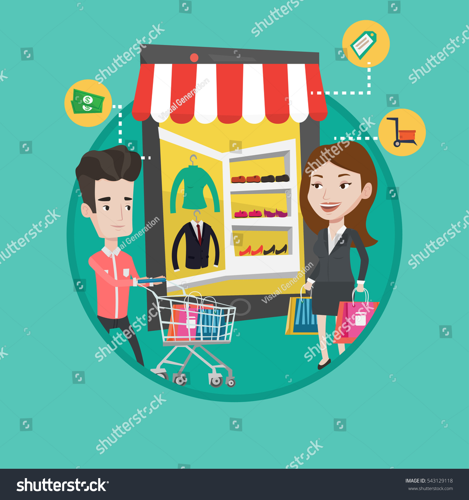 People doing online shopping man woman stock vector for Shop mobili online