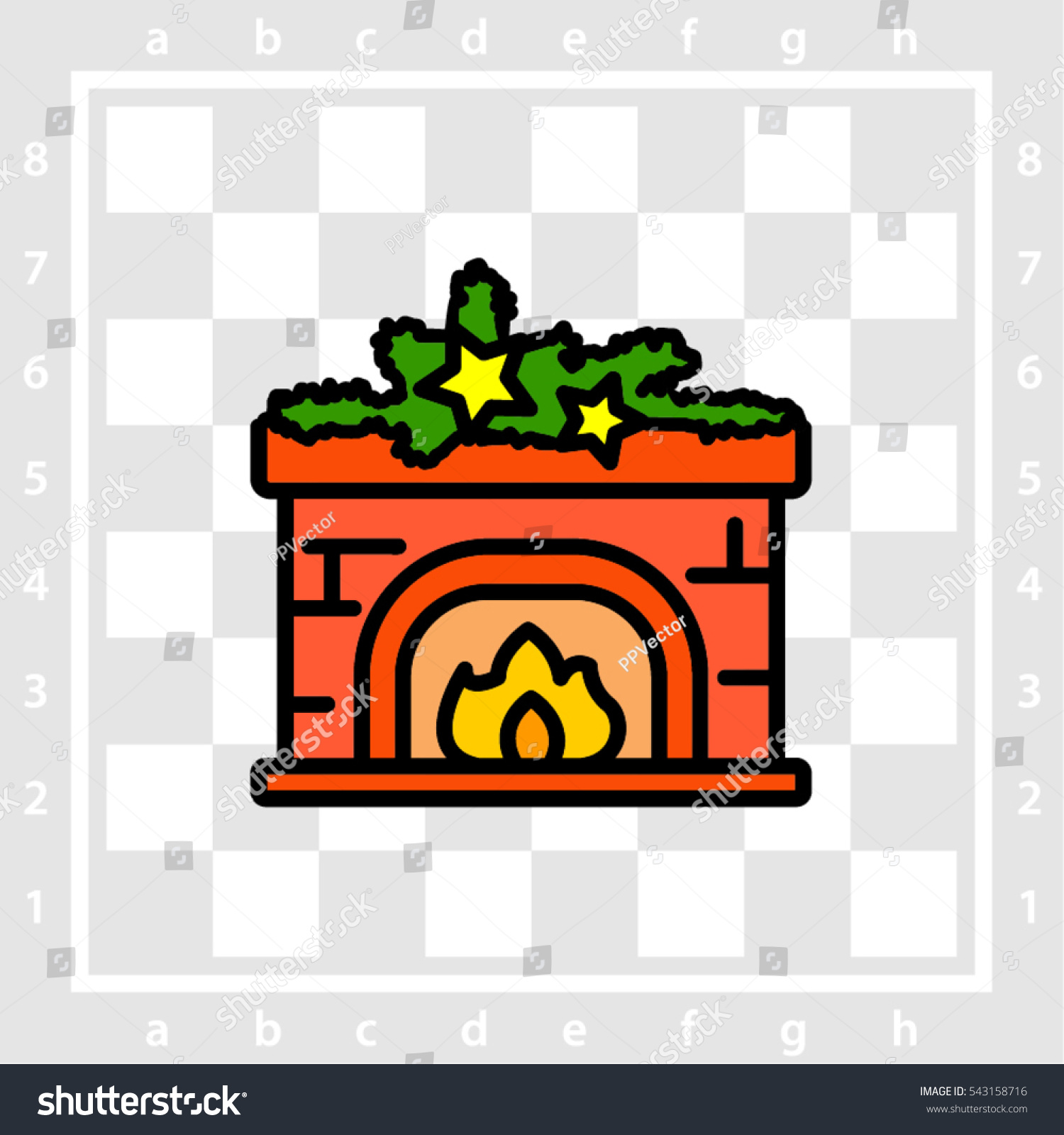 Web line icon fireplace christmas decorations stock vector for Christmas decoration websites