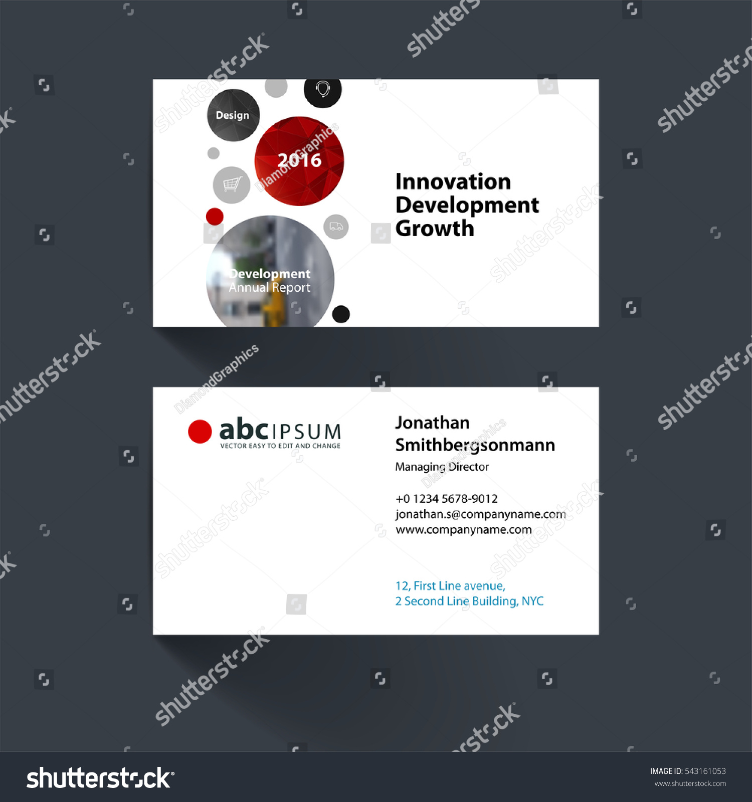 vector business card template points circles stock vector