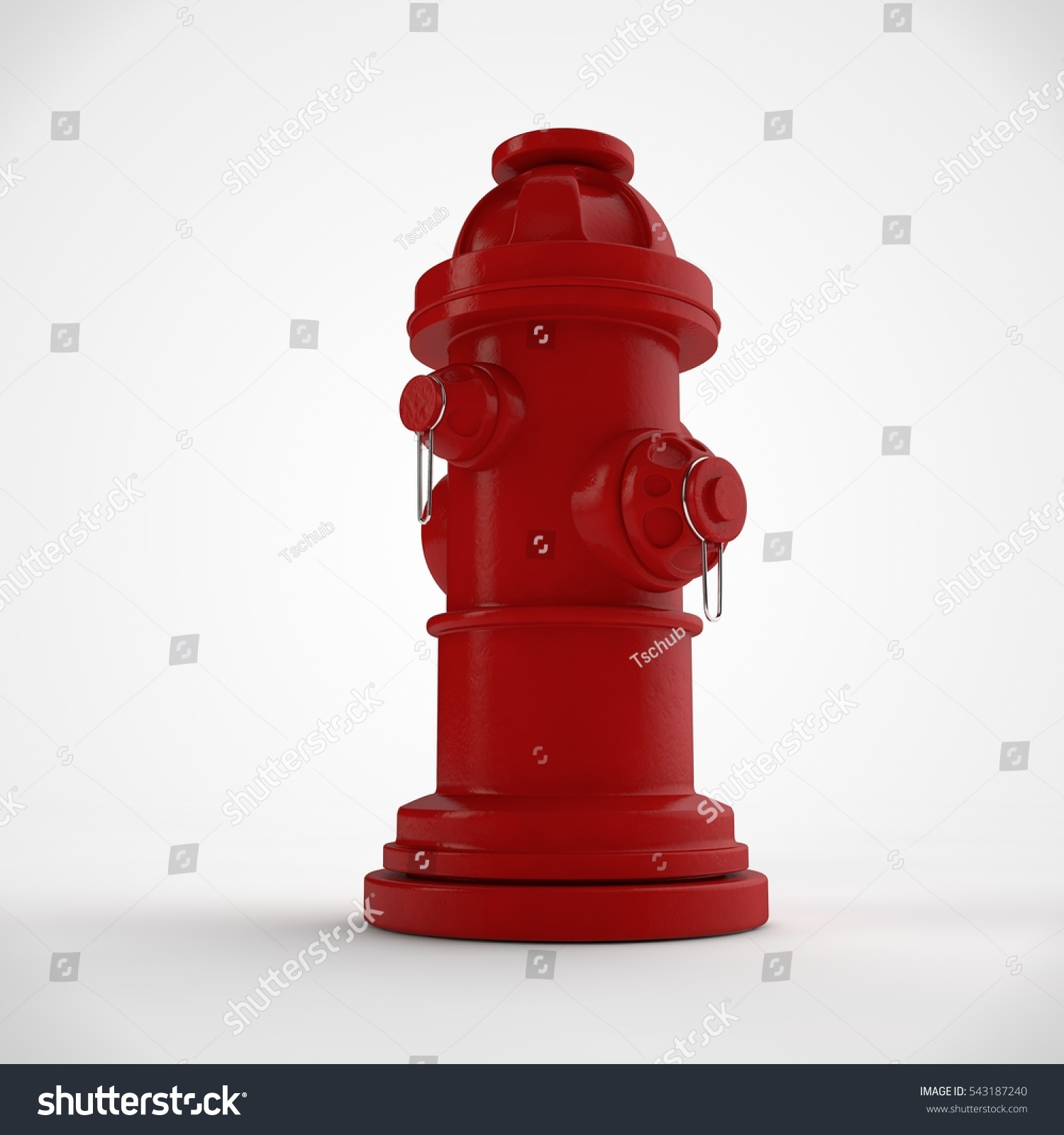 Image Red Fire Hydrant On White Stock Illustration 543187240