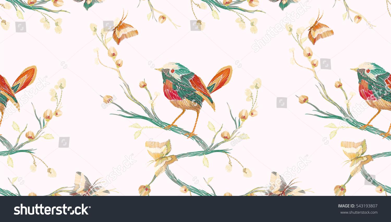 vintage seamless pattern bird butterfly flower stock vector