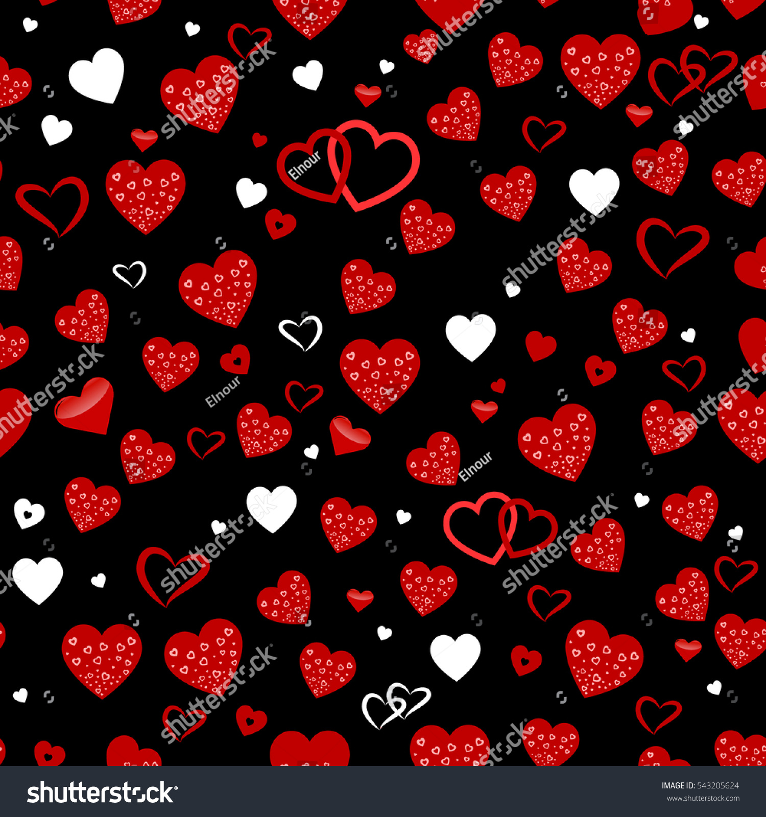 Seamless Vector Texture Red Hearts You 543205624