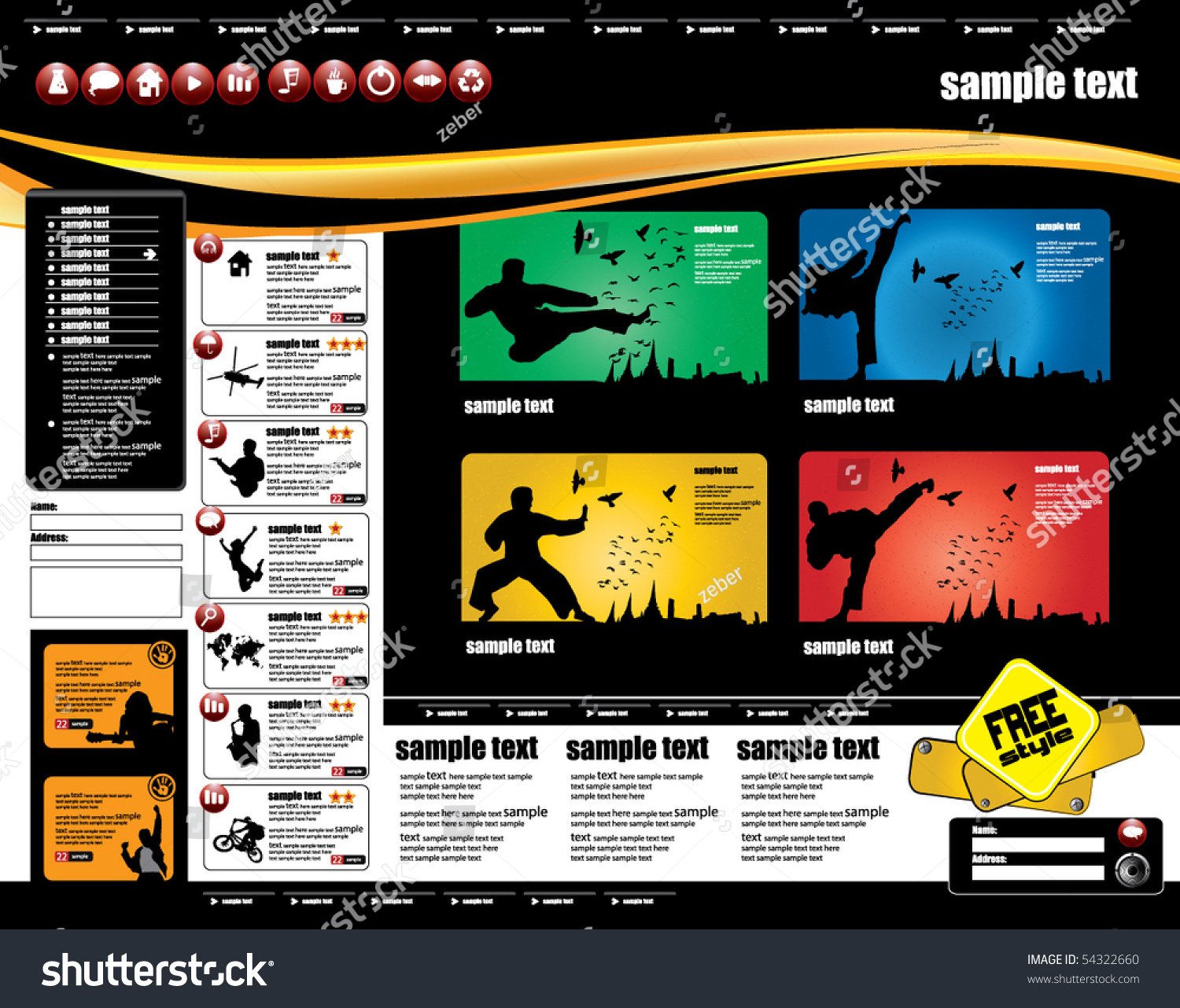 Sport Web Page Layout Design Stock Vector 54322660 - Shutterstock