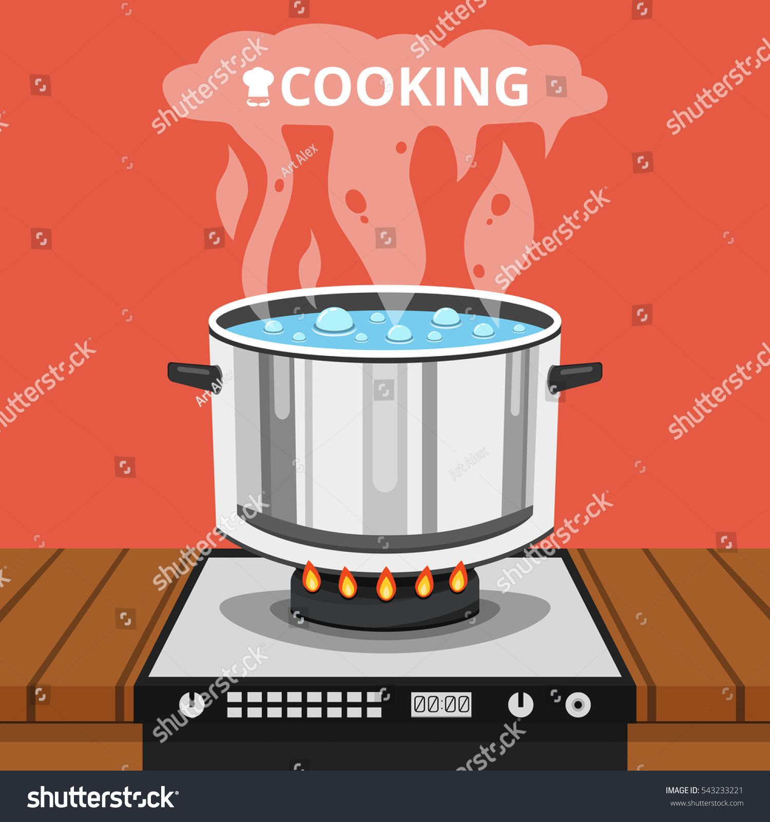 Boiling Water Pan Cooking Pot On Stock Vector 543233221 ...