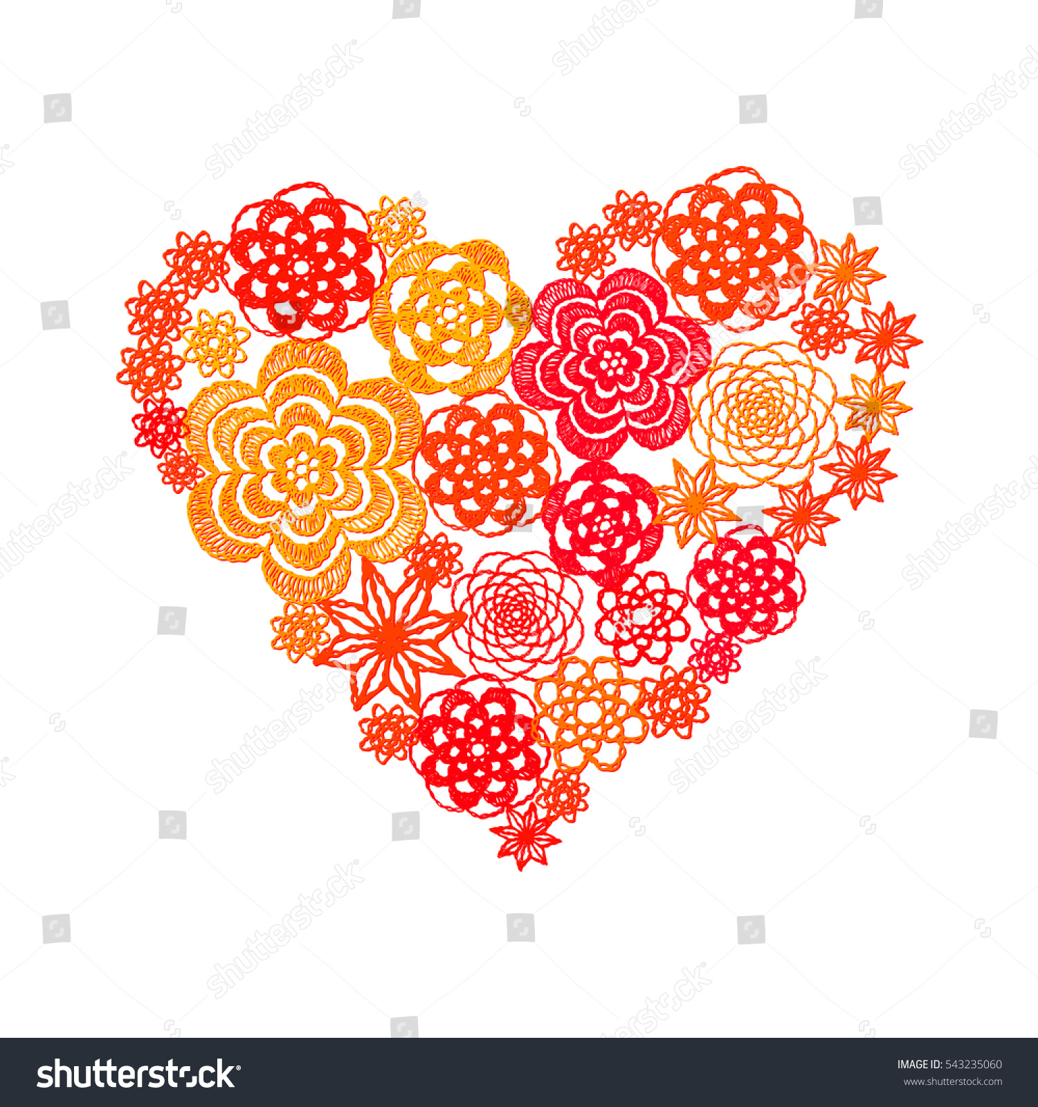 Heart Crochet Flowers Greeting Card Valentines Stock Vector Royalty