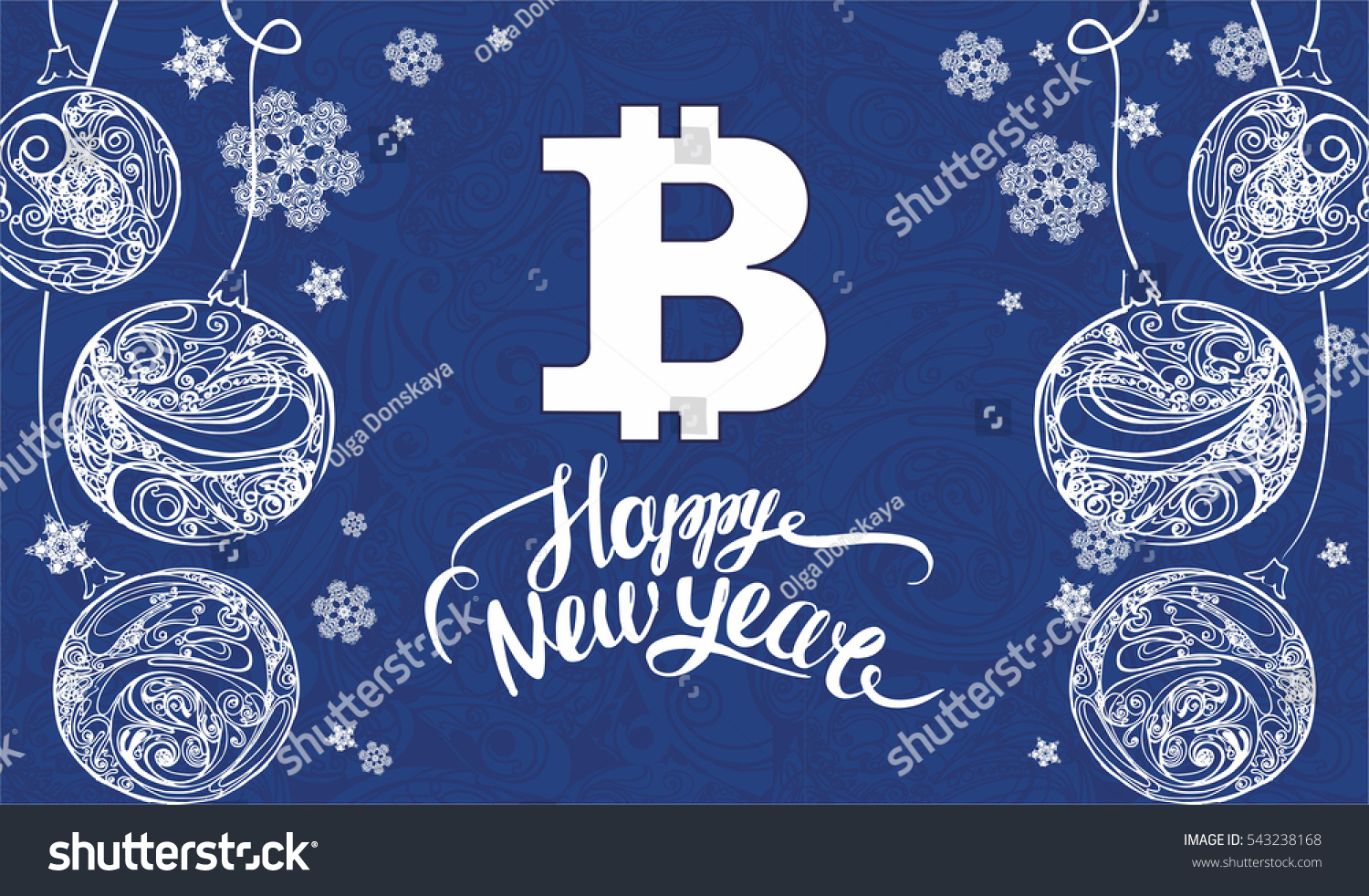 Happy New Year Lettering Bitcoin Symbol Stock Vector Royalty Free