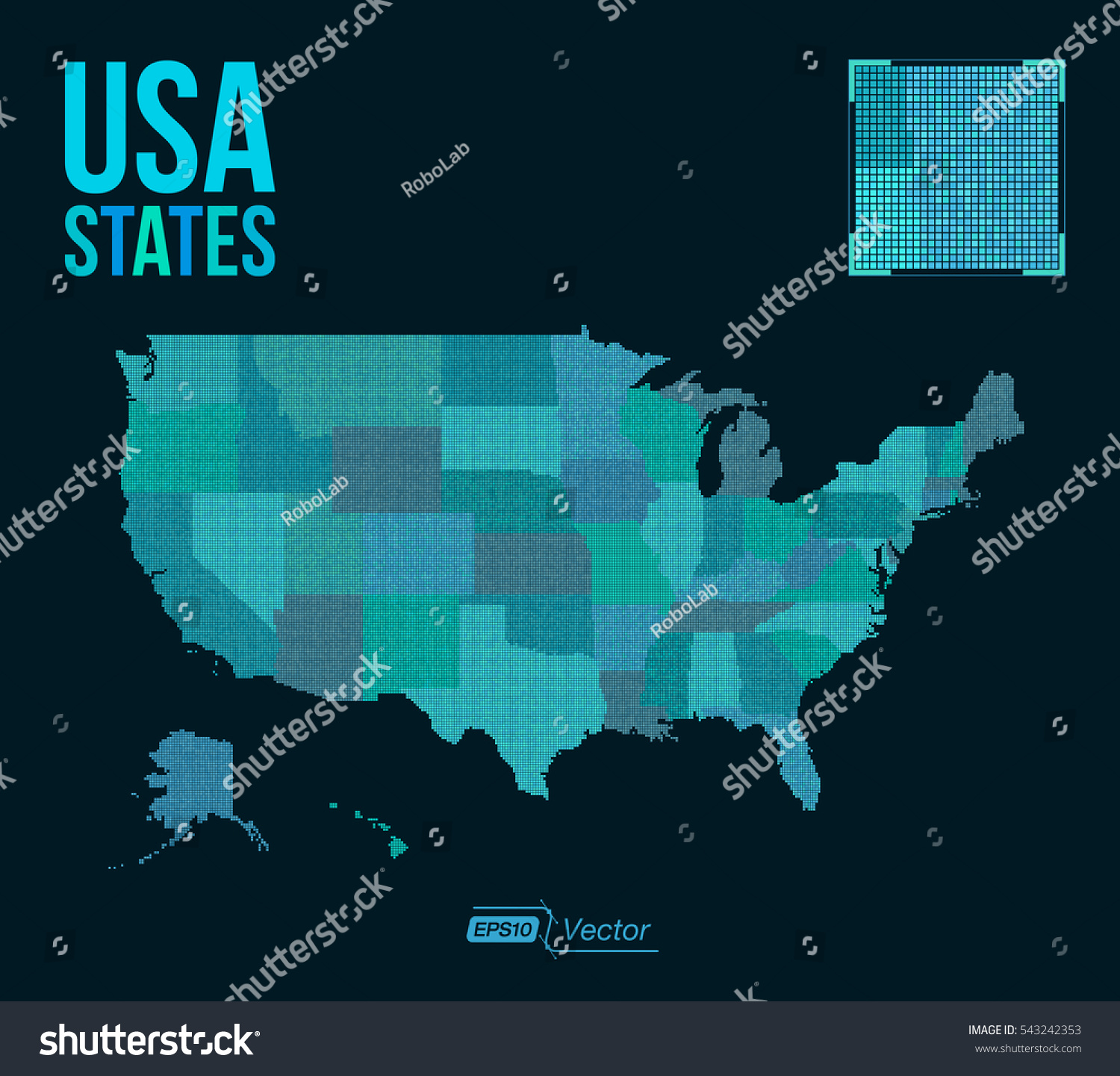Dot Matrix Vector United States Map Stock Vector - Us map detailed