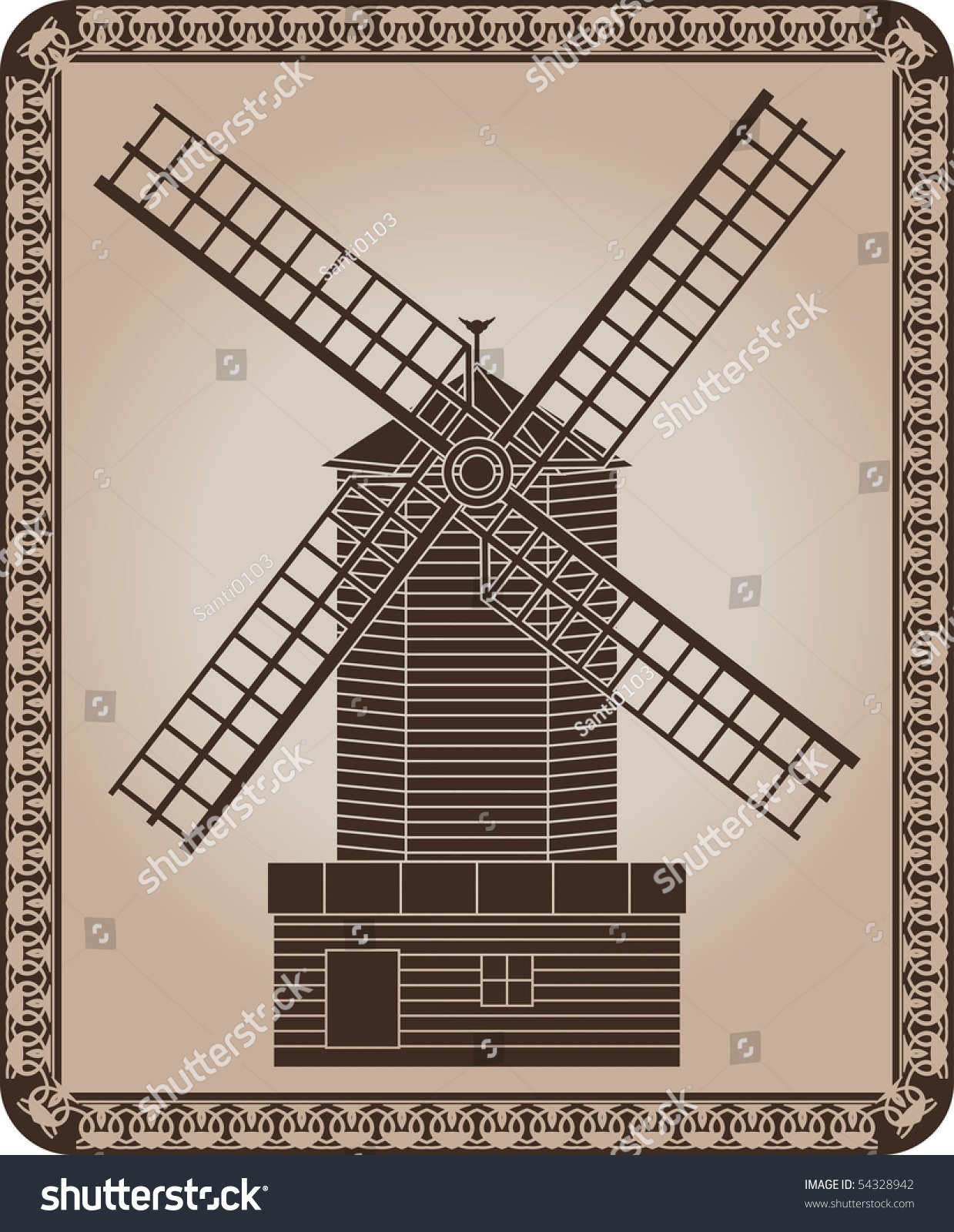 Windmill. Stencil. Vector Illustration For Design - 54328942 ...
