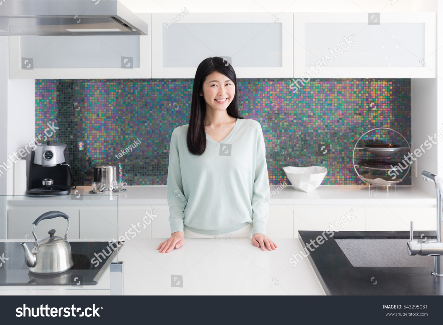 Portrait Young Asian Woman Kitchen Room Stock Photo (Royalty Free ...