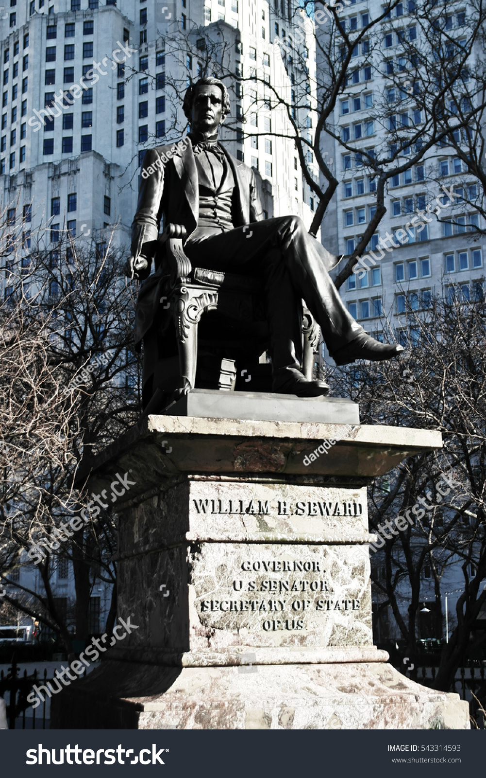 New York City, Manhattan William H. Seward governor statue.