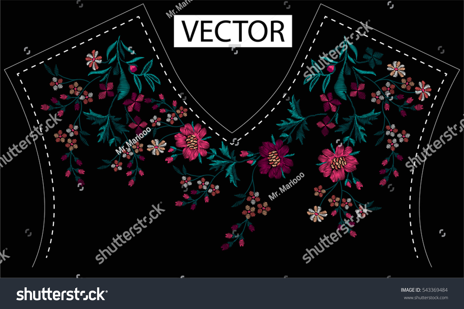 Embroidery ethnic flowers neck line flower stock vector