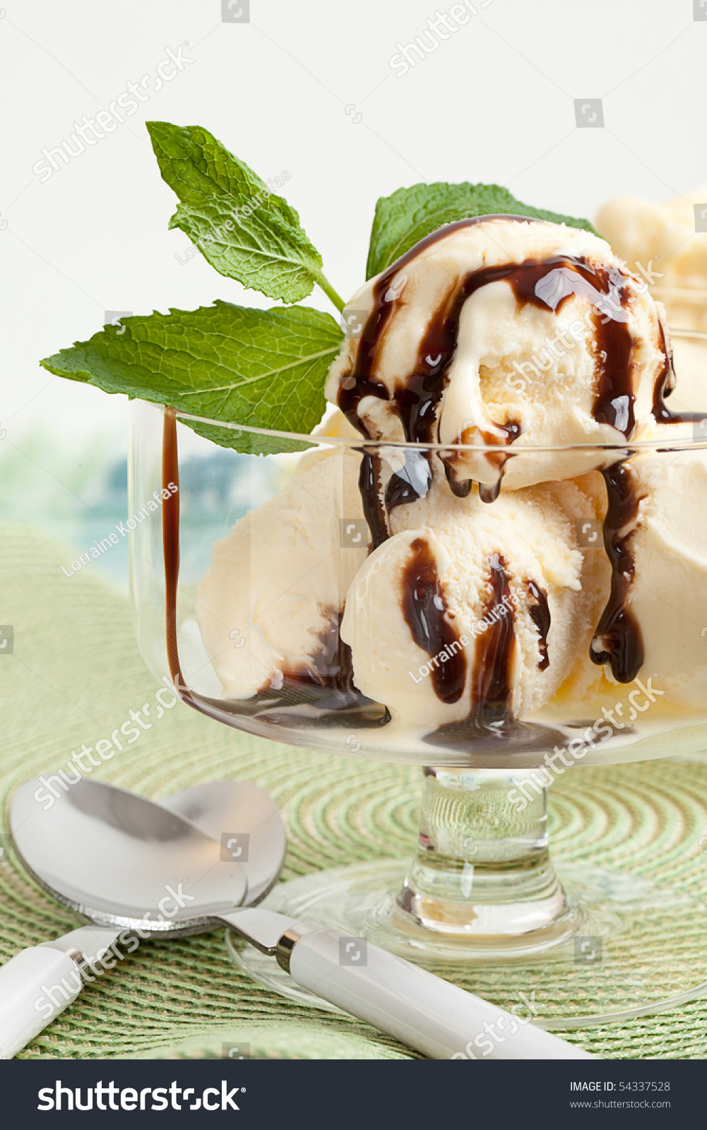 Glass Bowl With Vanilla Ice Cream, With Chocolate Sauce ... Vanilla Ice Cream In A Bowl With Chocolate Syrup