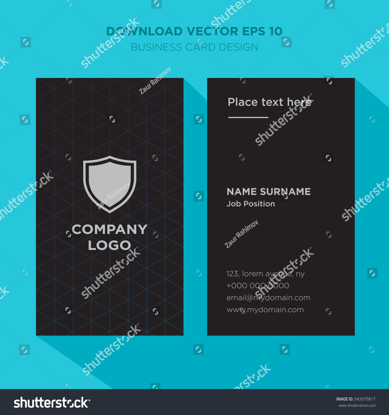 Template Elegant Business Card Security Services Stock Vector ...