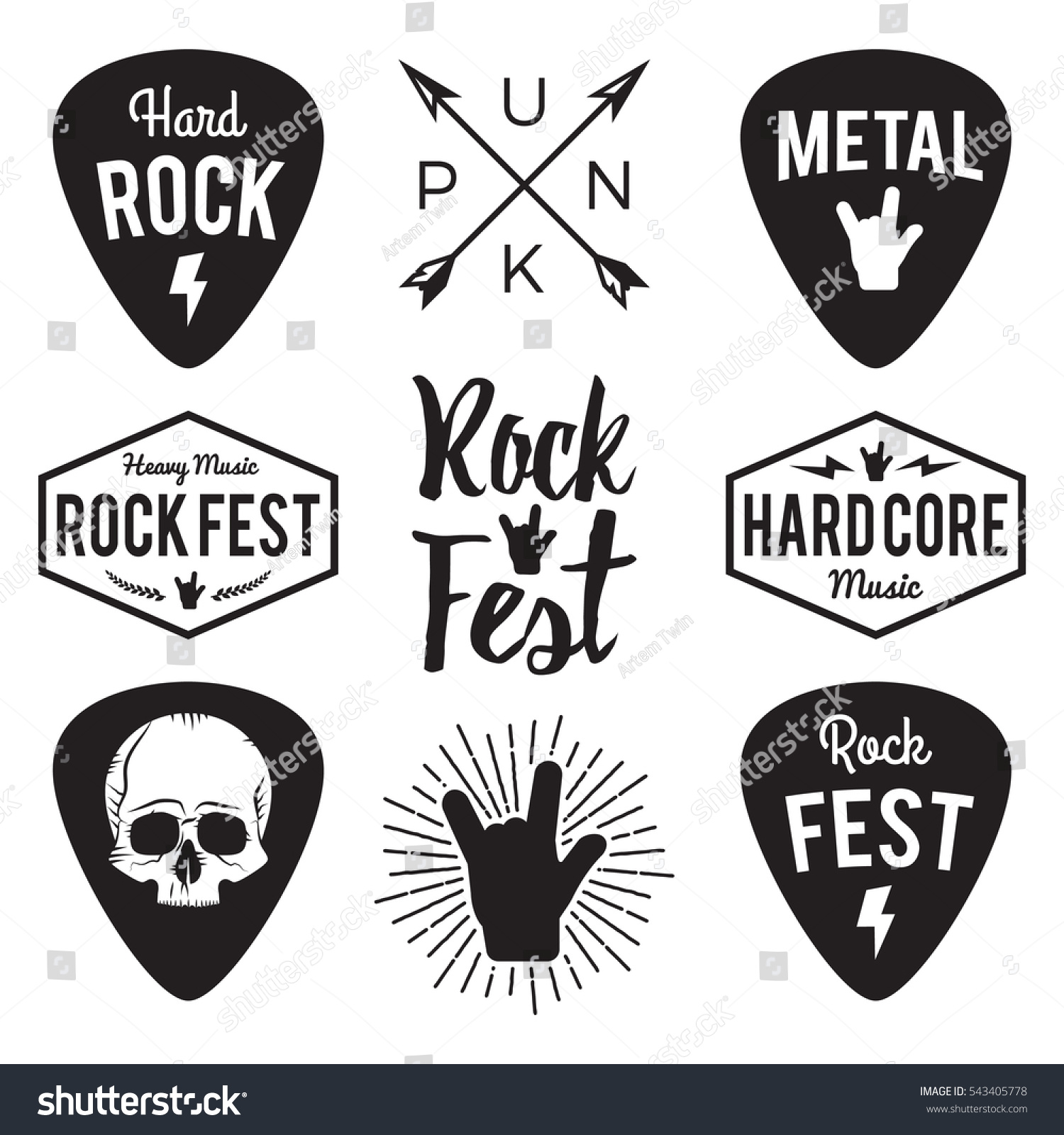 rock fest badgelabel vector set band stock vector