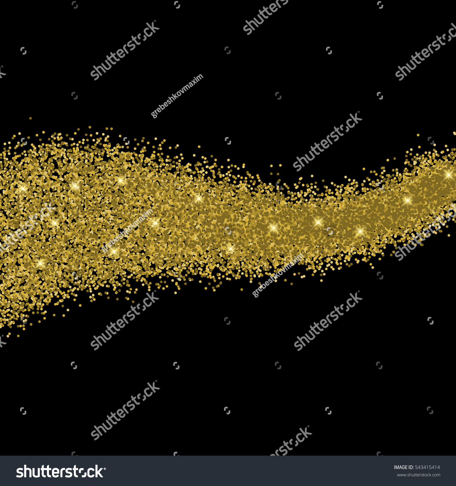 Gold glitter bright vector transparent background golden sparkles - Gold Glitter Wave Abstract Background Golden Sparkles On Black Background Card Design