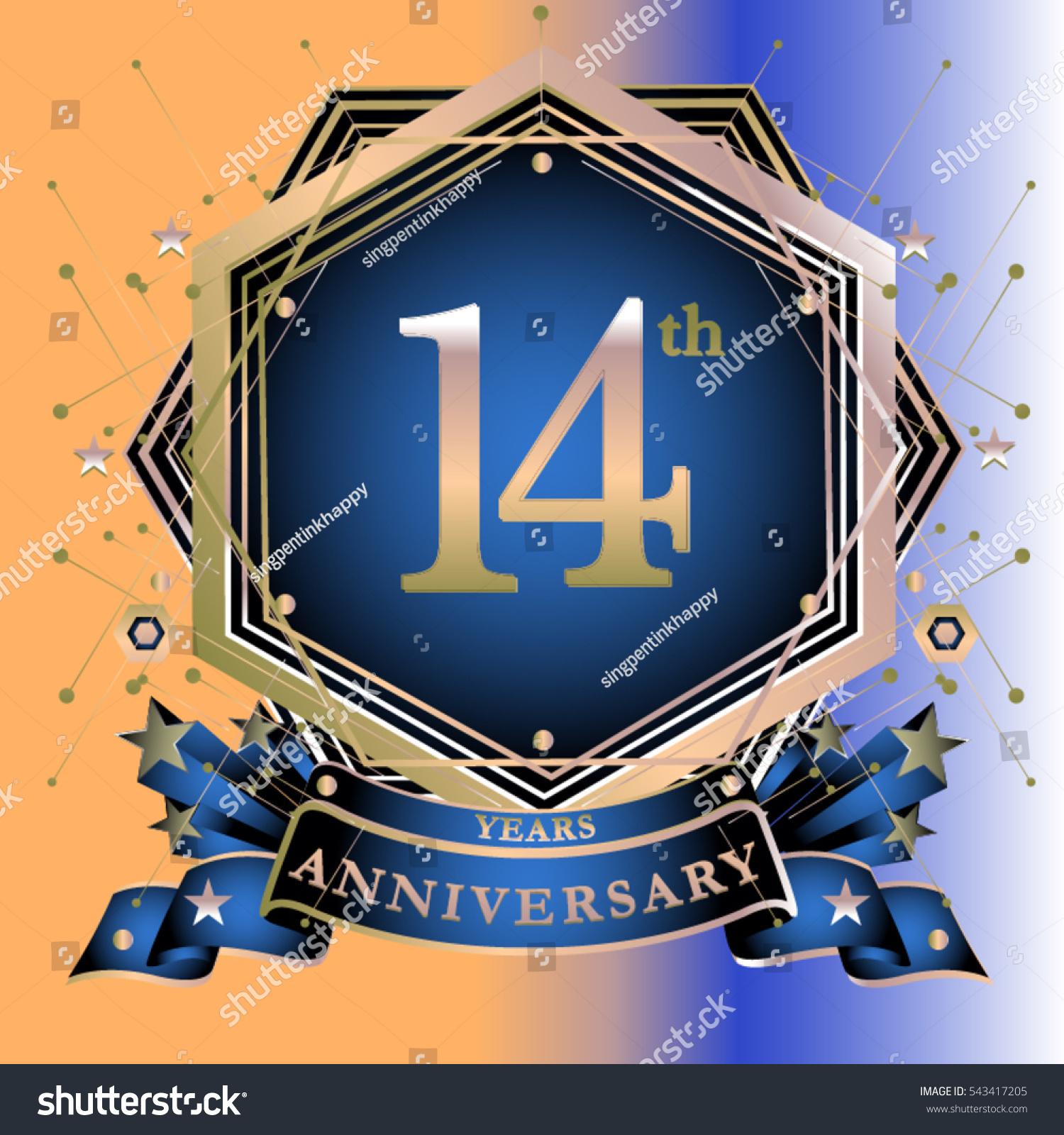 14 Years Anniversary Logo Celebration Ring Stock Vector Royalty