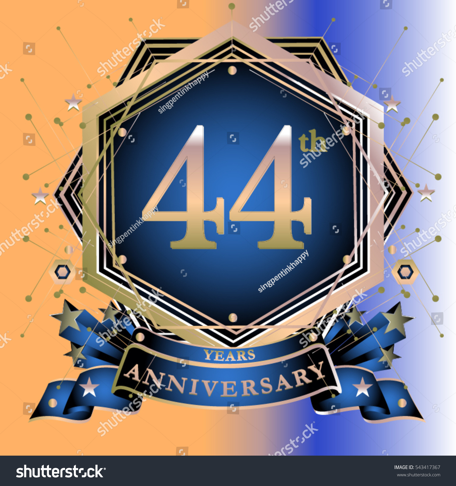 44 years anniversary logo celebration ring stock vector 543417367 44 years anniversary logo celebration with ring and ribbon symbol and template for greeting card biocorpaavc Gallery
