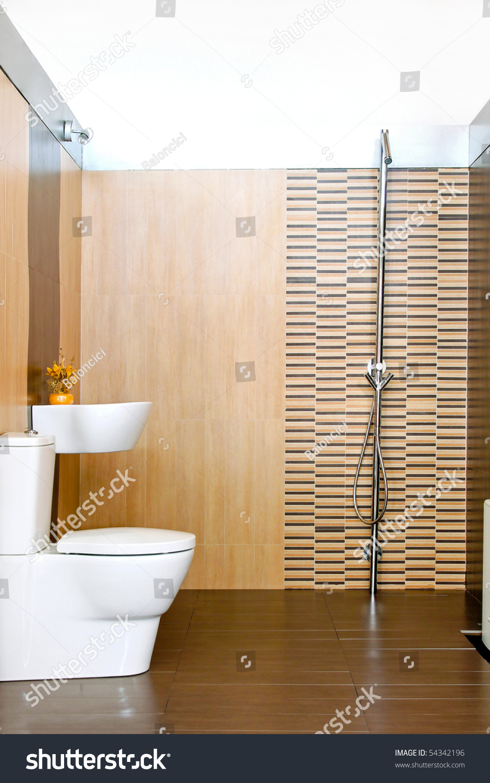 Small Bathroom Open Shower Without Cabin Stock Photo Edit Now