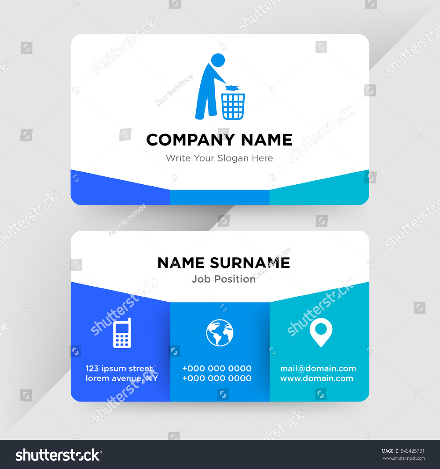 Template Business Card Recycle Services Company Stock Vector