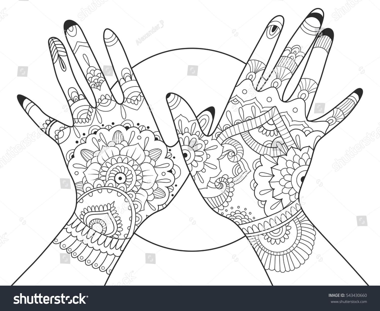 Hands Mehndi Drawing Coloring Book Adults Stock Vector