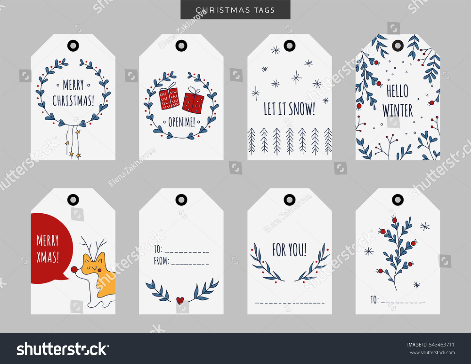 set of christmas and new year holiday gift tags labels with hand drawn elements