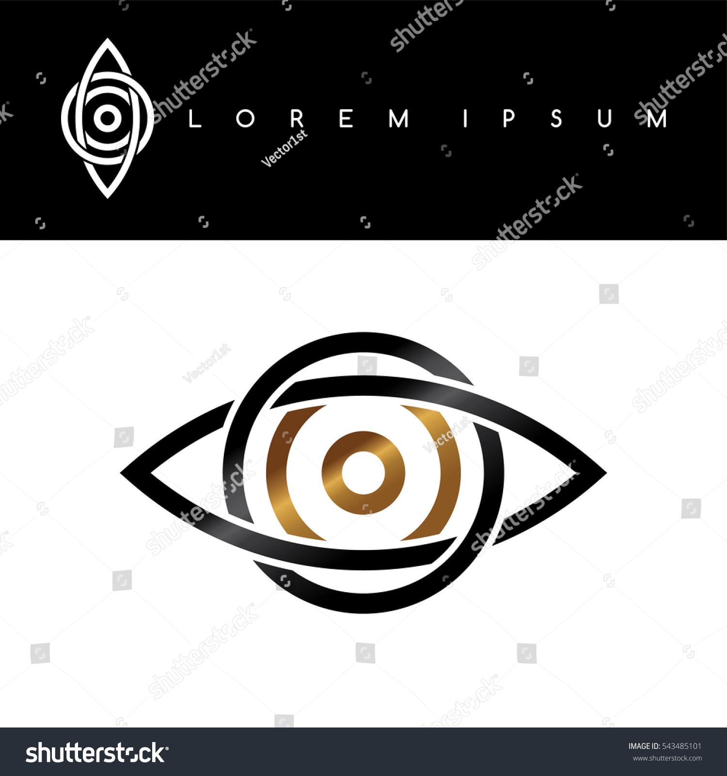 Celtic Eye Symbol Gold Black Monochromatic Stock Illustration