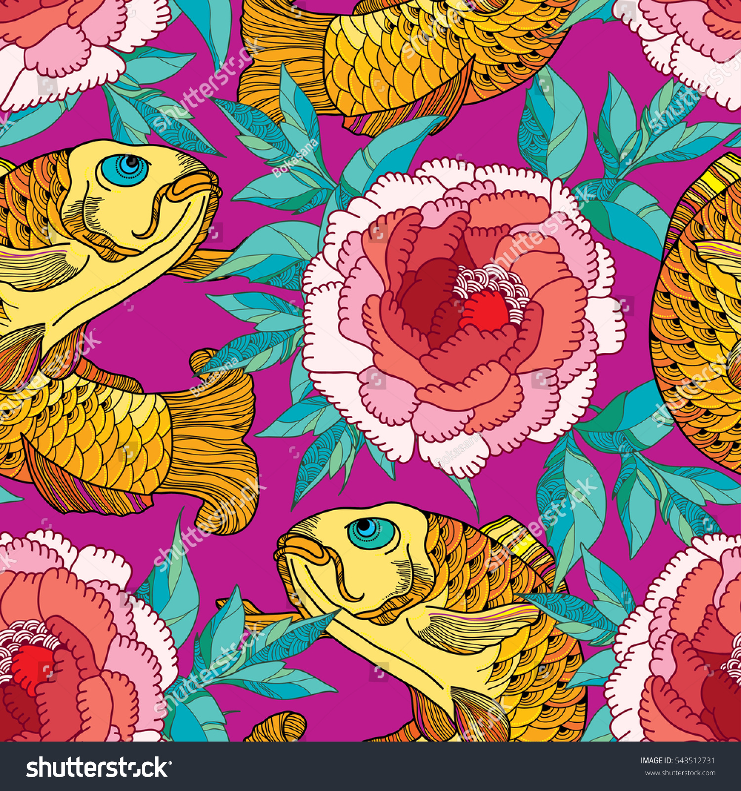 Pink floral seamless vector background floral hrysanthemum seamless - Vector Seamless Pattern With Outline Golden Koi Carp And Red Chrysanthemum Or Dahlia On The Pink