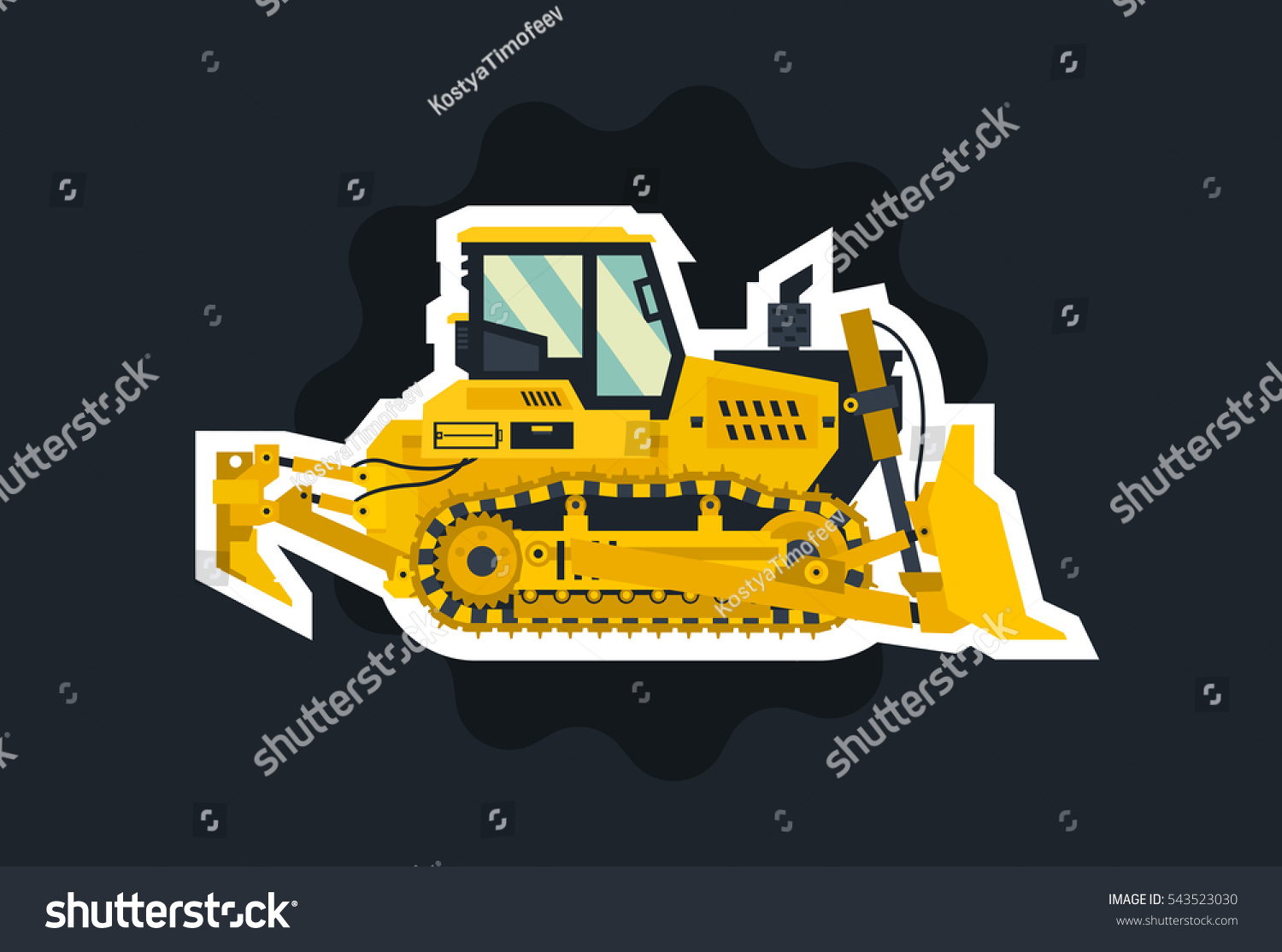 bulldozer tracked vehicles tractor object circled stock vector