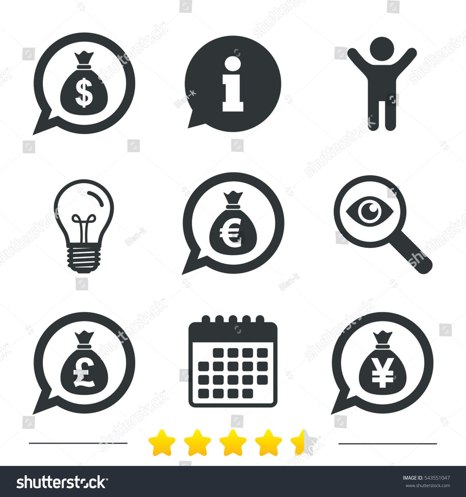 Money Bag Icons Dollar Euro Pound Stock Vector 543551047 Shutterstock