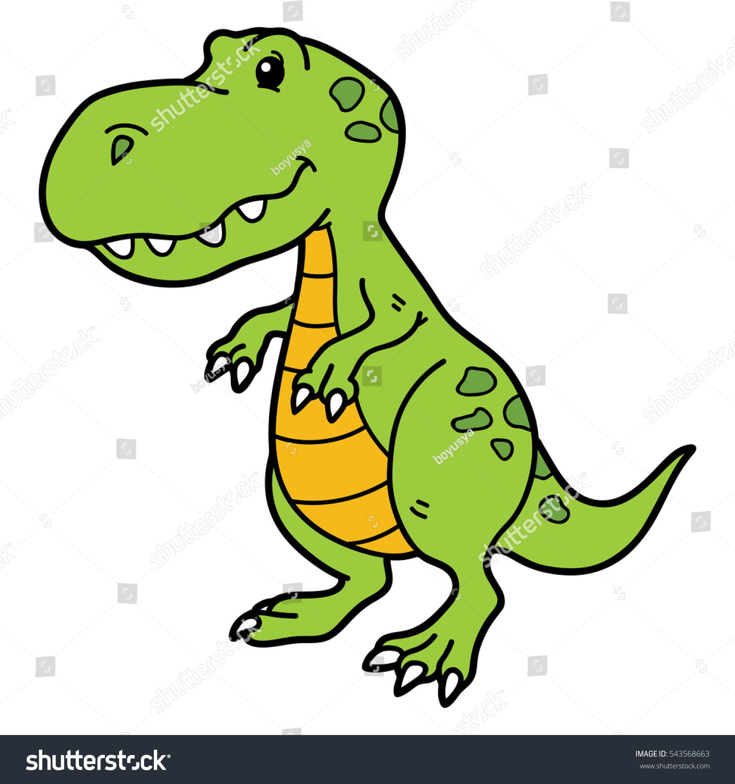 Vector Illustration Cute Cartoon Dino Character Stock Vector (2018 ...