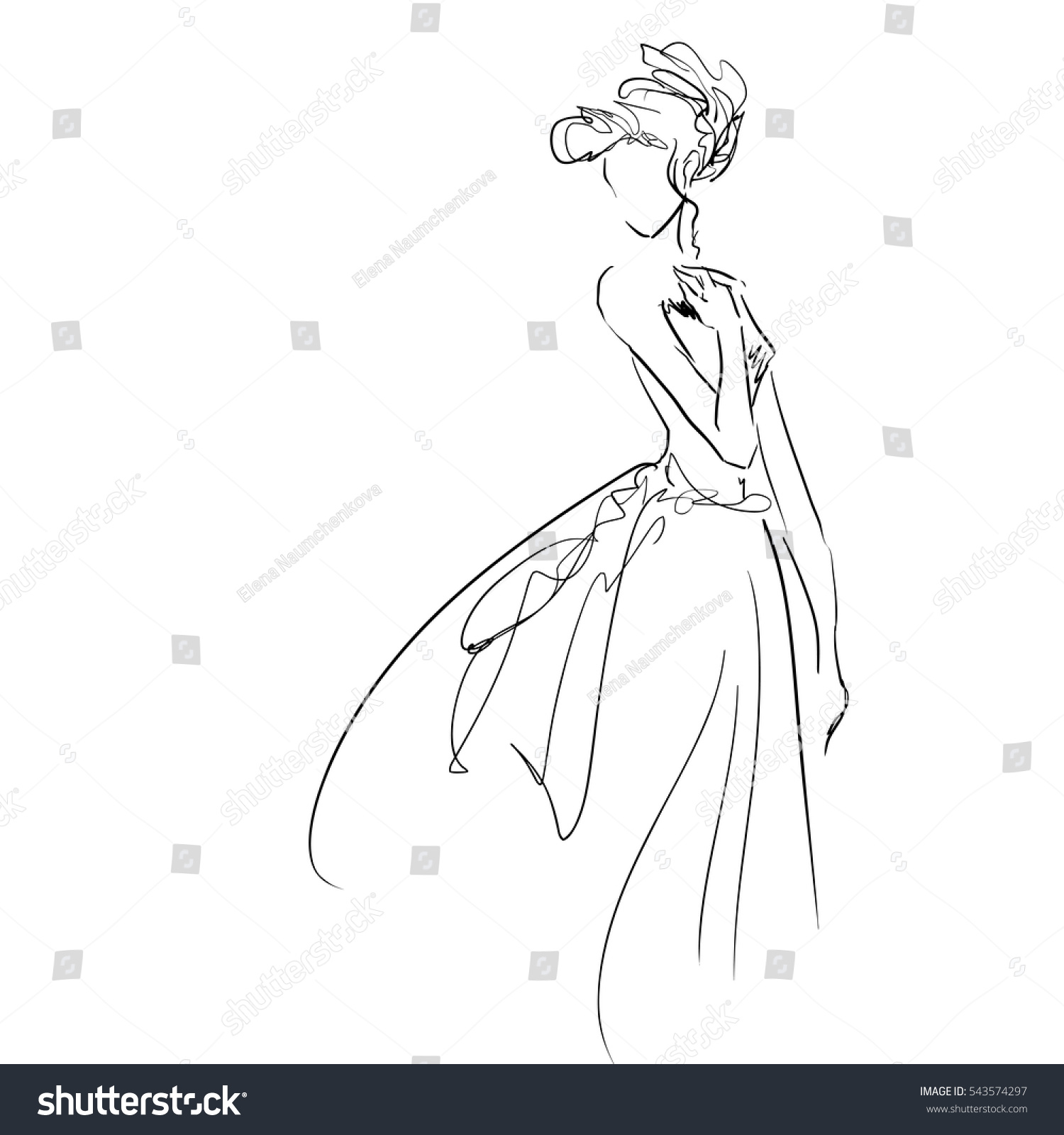 Drawing Lines Freehand : Vector freehand art elegant young woman stock