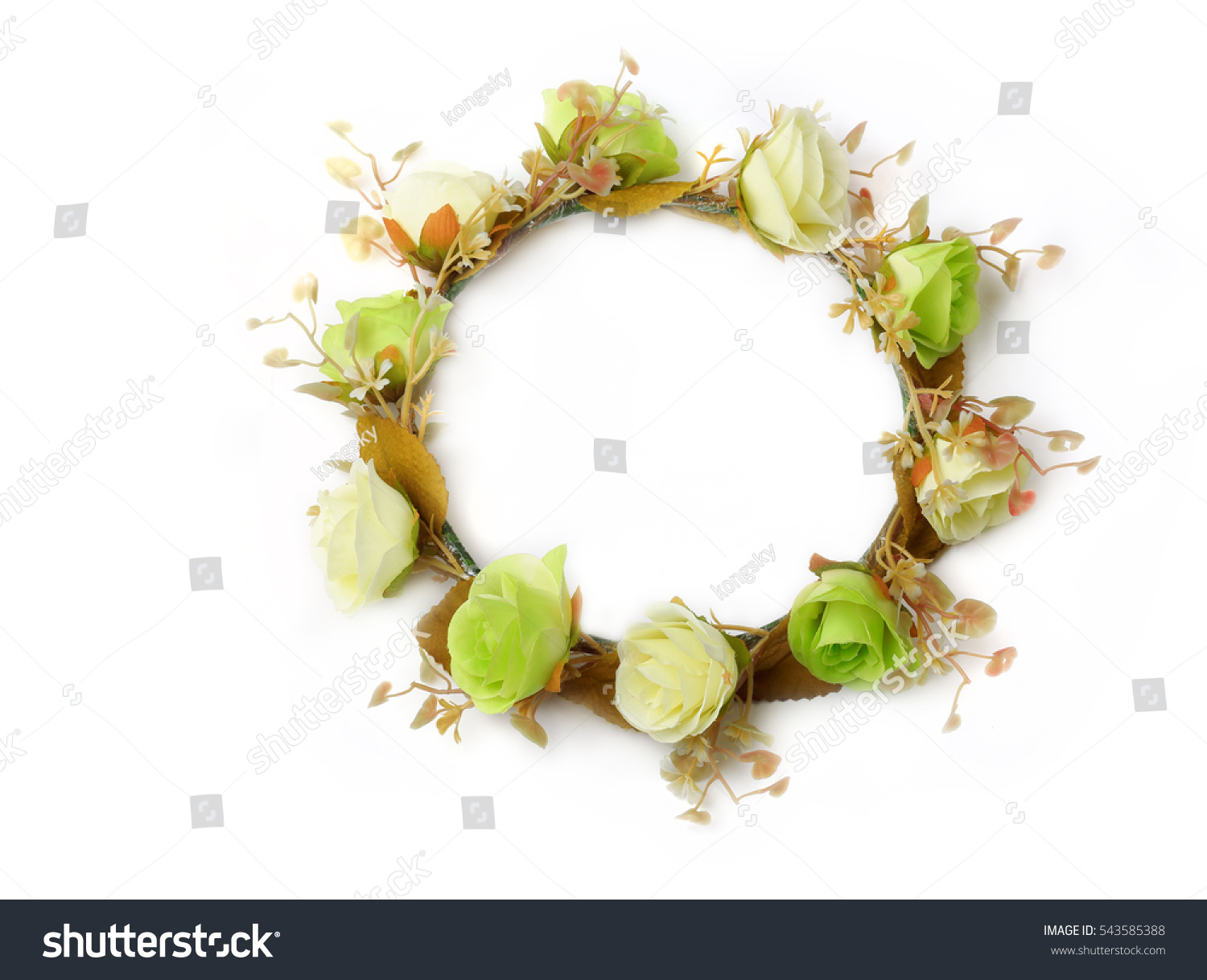 Royalty free top view of colorful fake flower crown 543585388 top view of colorful fake flower crown or forest coronal isolated on white background izmirmasajfo