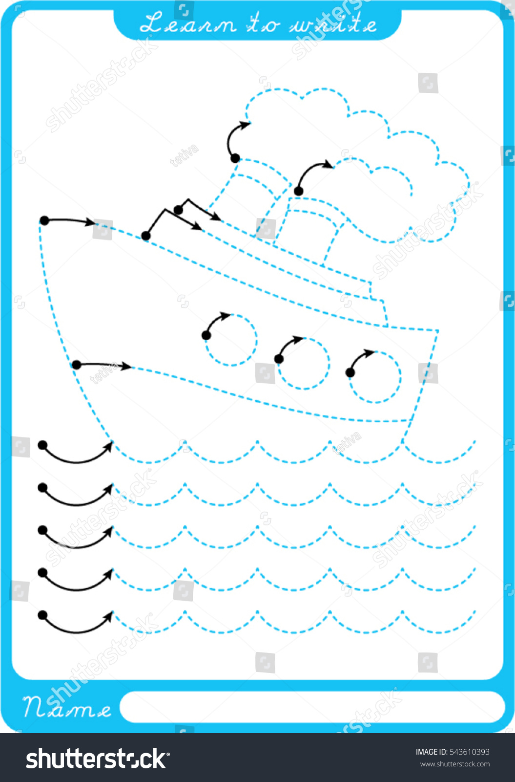 Vector Drawing Lines Worksheet : Boat sea waves preschool worksheet practicing stock vector