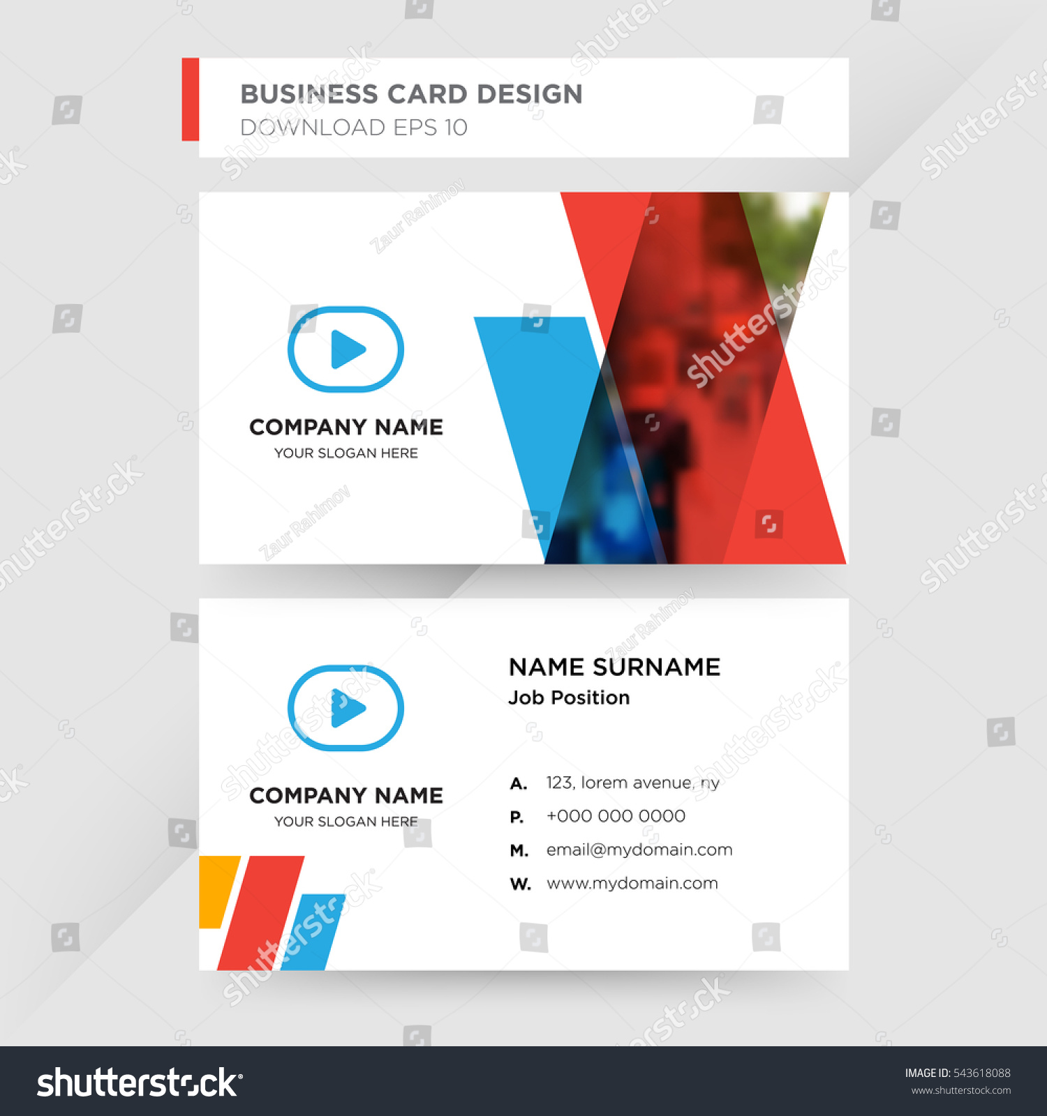 Template Business Card Video Services Company Stock Vector 543618088 ...
