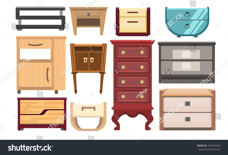 Bedroom Interior Design Set Furniture Vector ~ Interior furniture set bedroom bedside stock