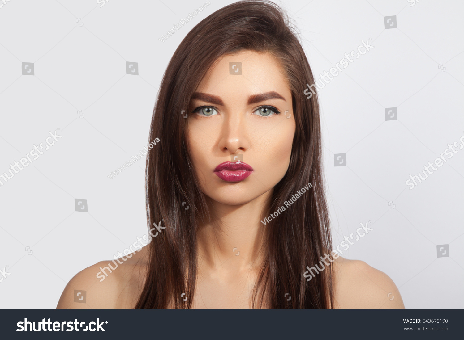 Beautiful young girl clean skin green stock photo for Skins beauty salon