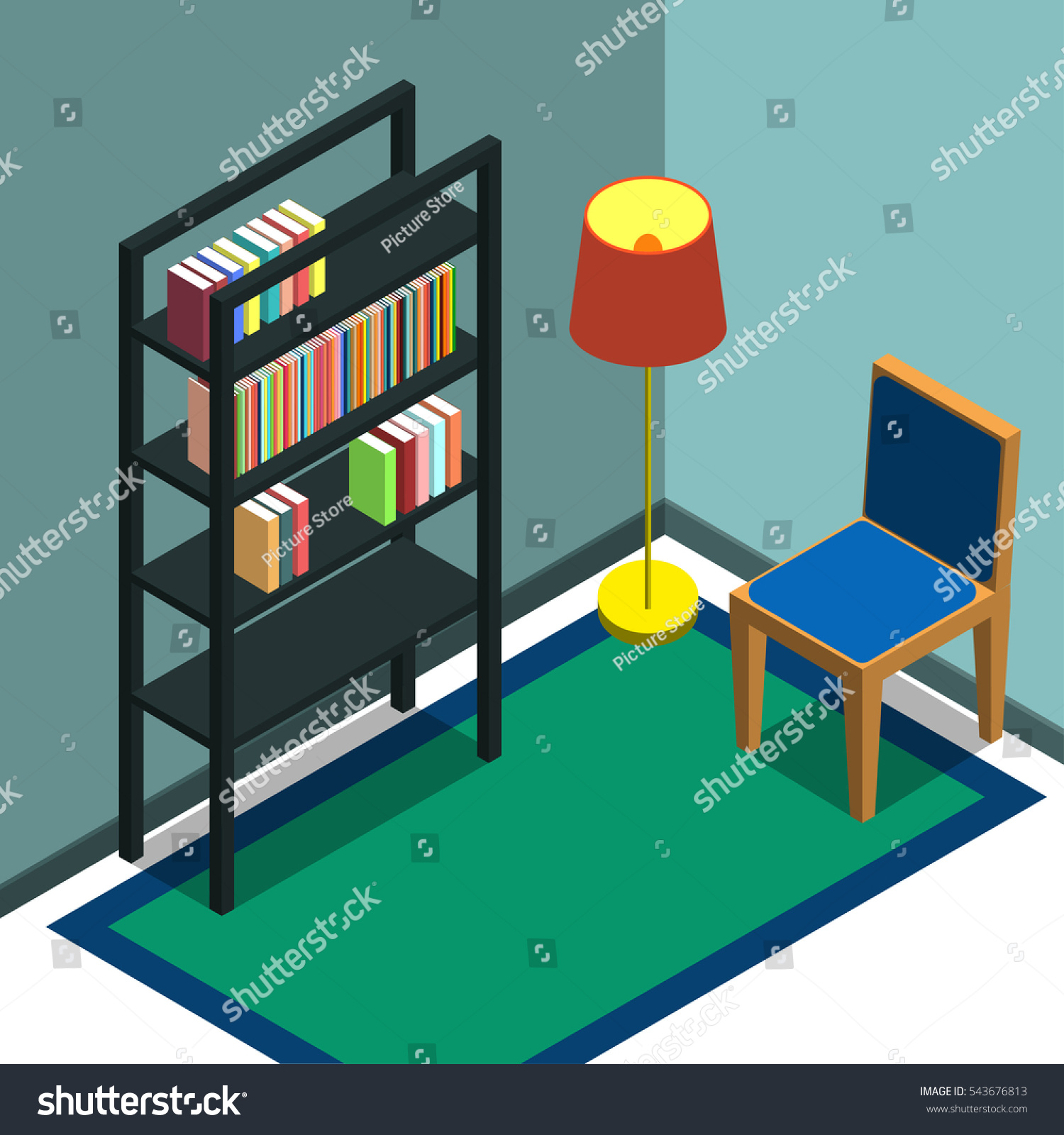 The Corner Of Room With A Bookshelf Chair And Floor Lamp Isometric Flat Design