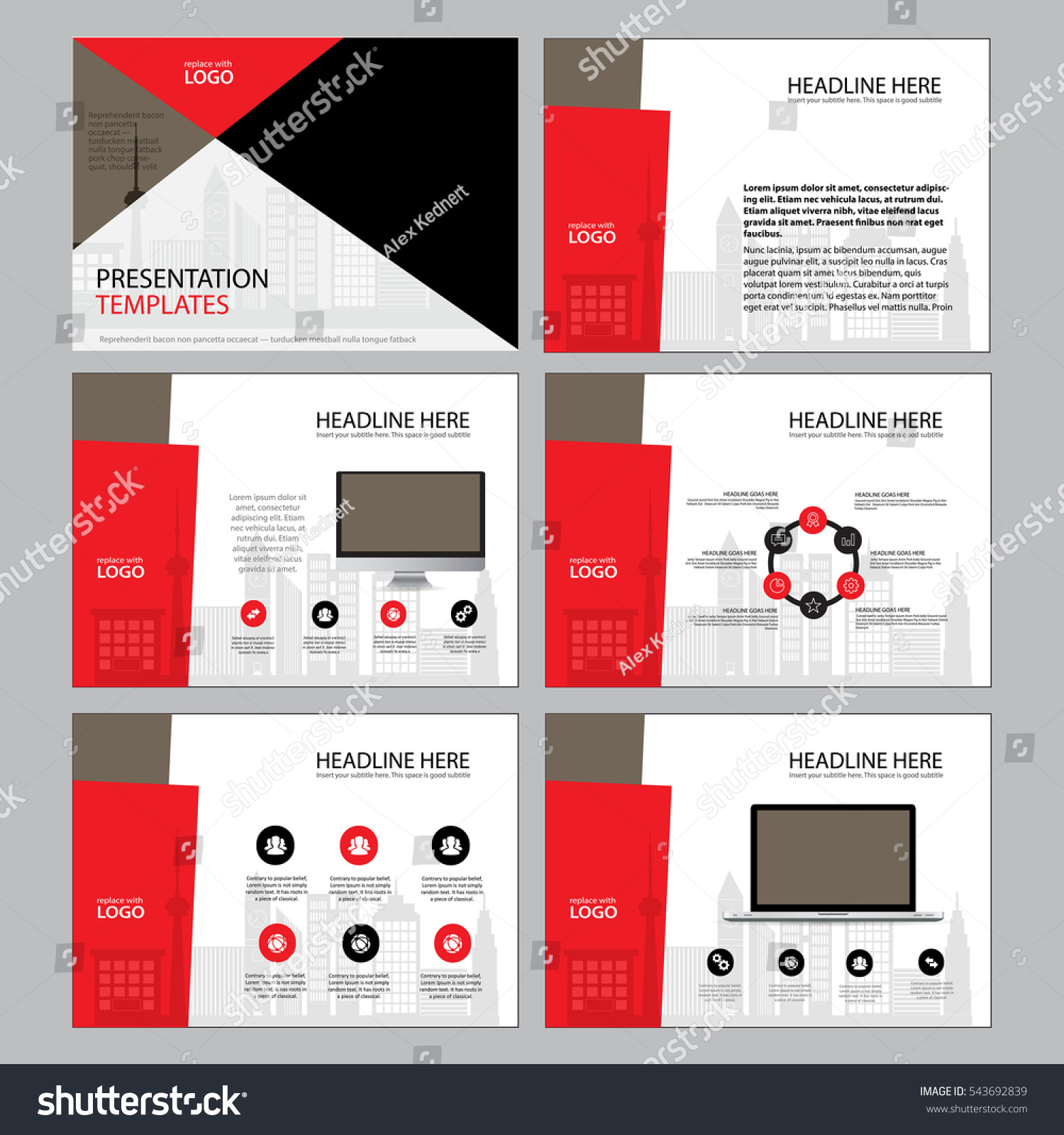 page layout design template presentation brochure stock vector, Presentation templates