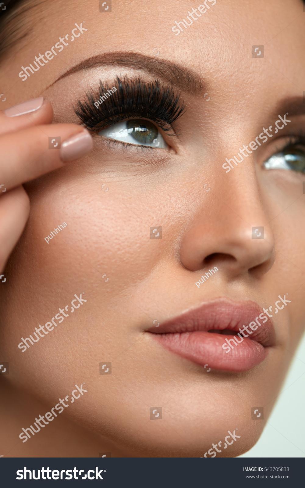 Applying False Eyelashes Long Fake Lashes Stock Photo Edit Now