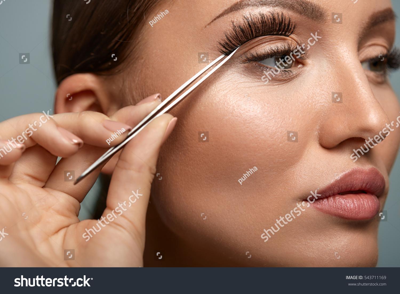 Eyelashes Beautiful Woman Applying False Eyelashes Stock Photo Edit