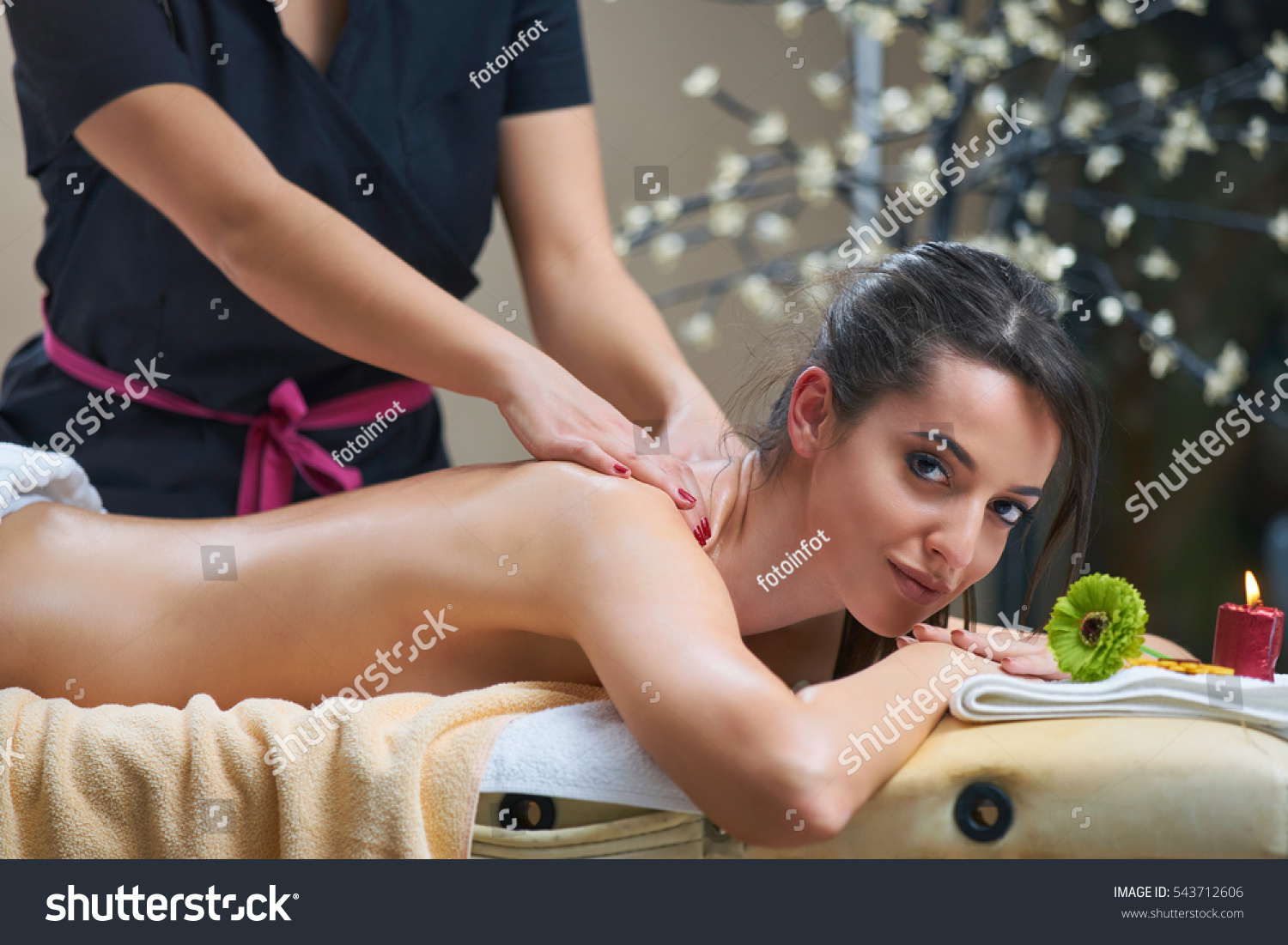 spa woman female enjoying relaxing back stock photo (edit now