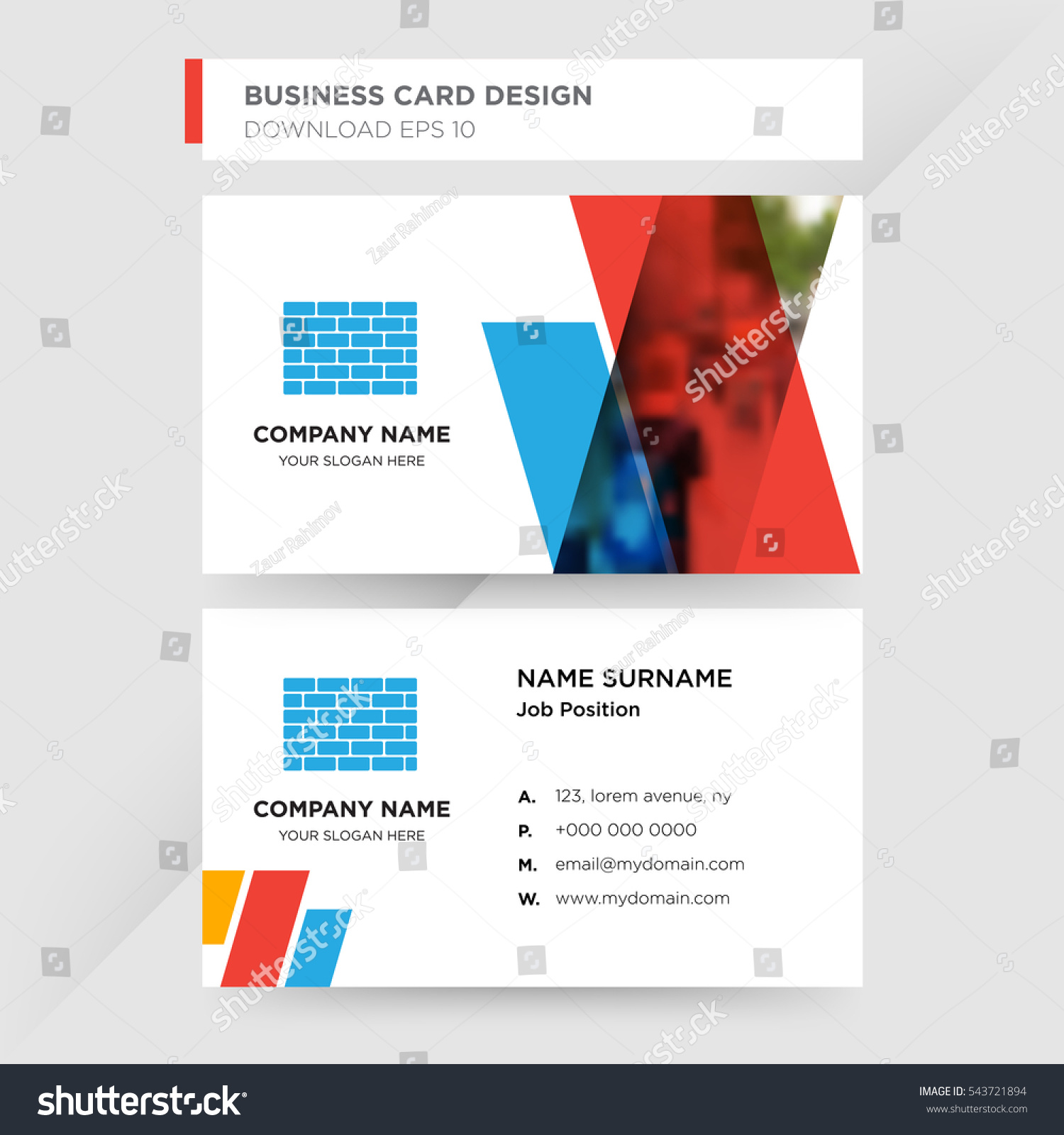 Business cards for construction choice image free business cards template business card construction company blue stock vector template of business card for construction company with magicingreecefo Images